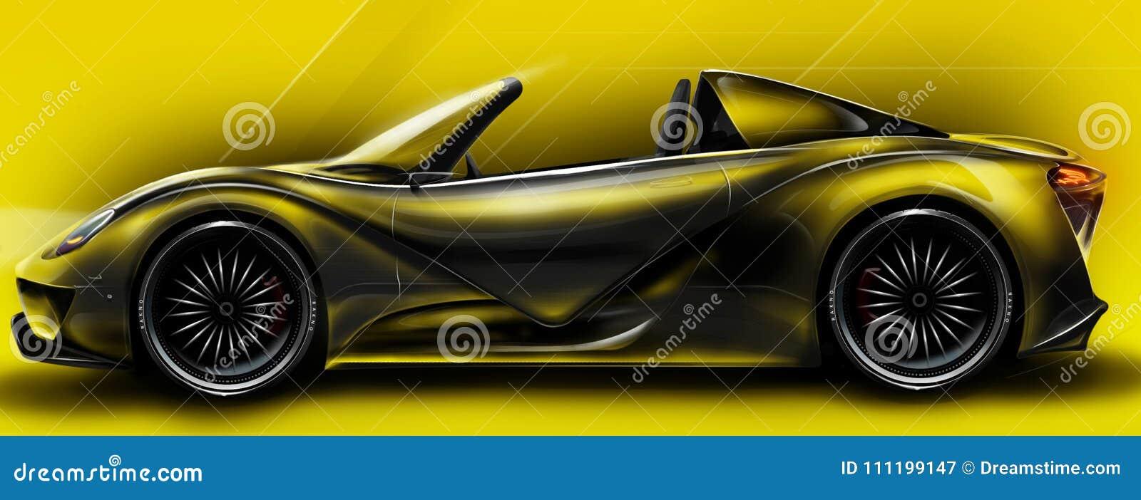 Hello-sportwagen op photoshop wordt teruggegeven die