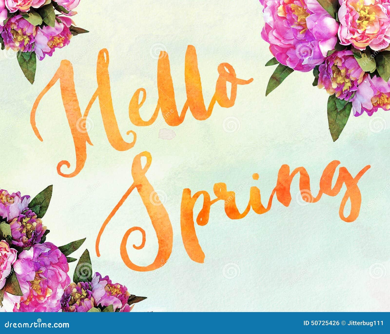 Hello Spring Stock Illustration - Image: 50725426