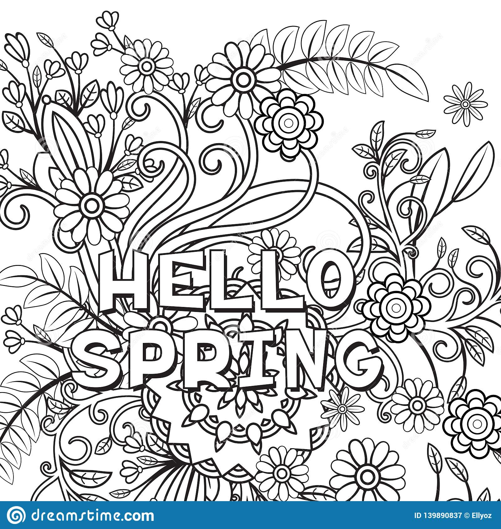 Hello spring coloring page stock vector. Illustration of ...