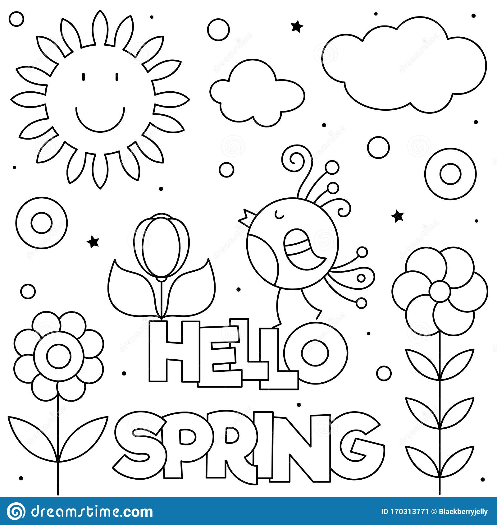 Hello Spring. Coloring Page. Black And White Vector ...