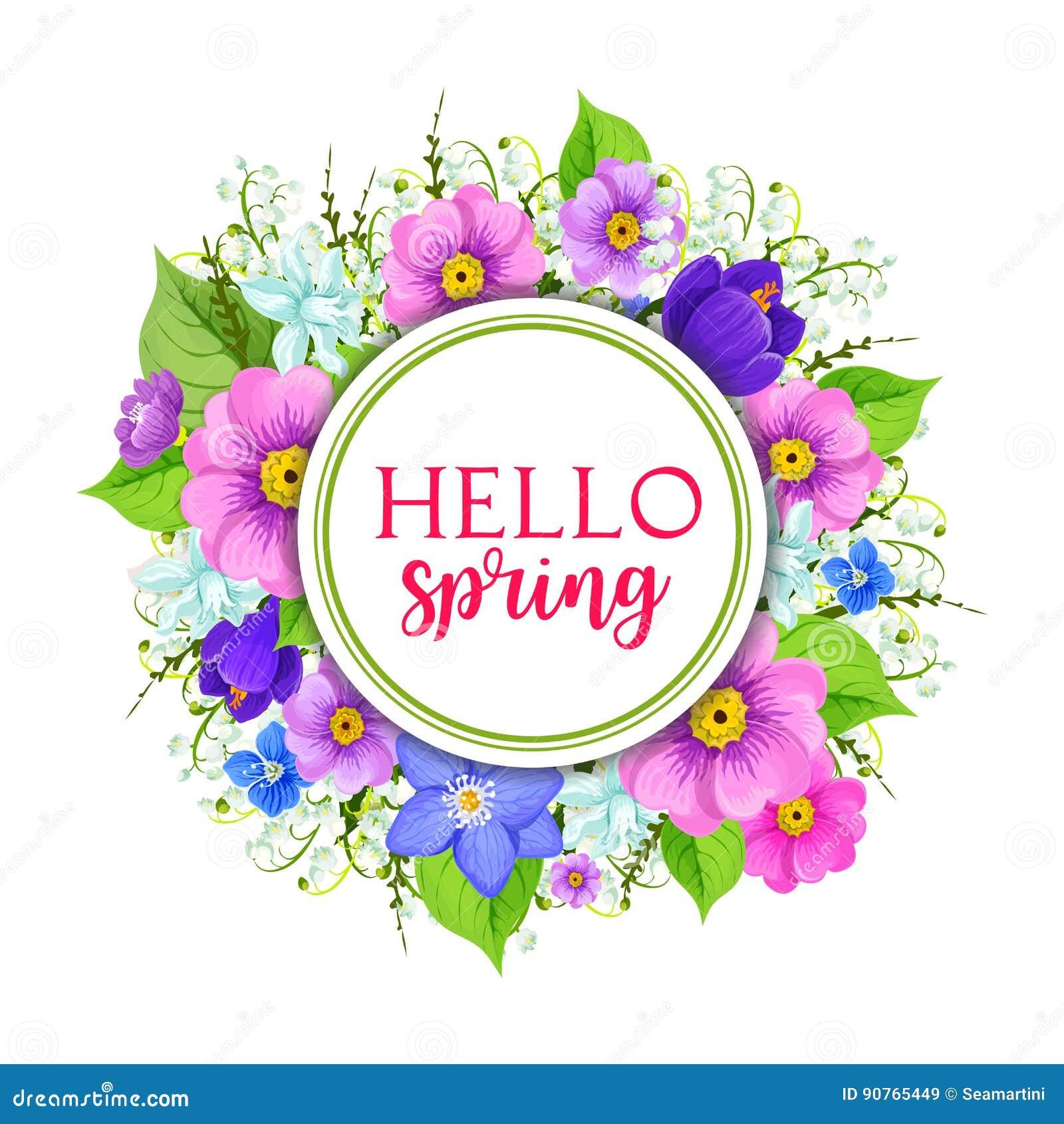 Hello Spring Floral Frame Greeting Card Design Stock Vector
