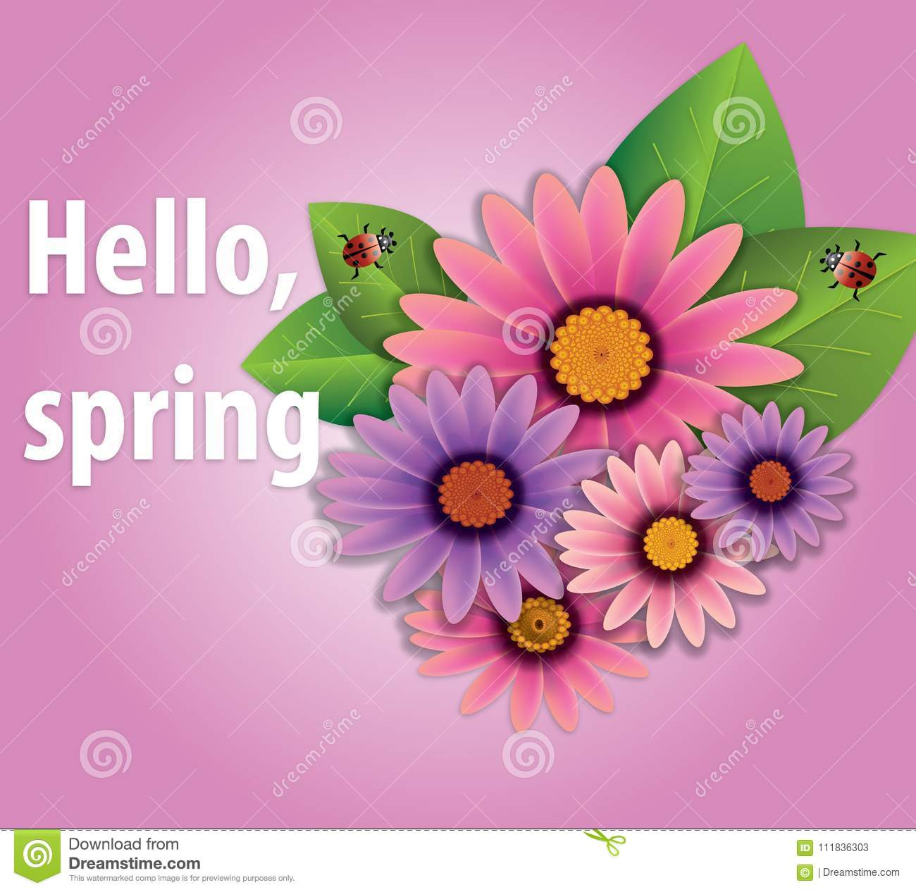 Hello Spring Flowers Vector Colorful Spring Background Stock Vector