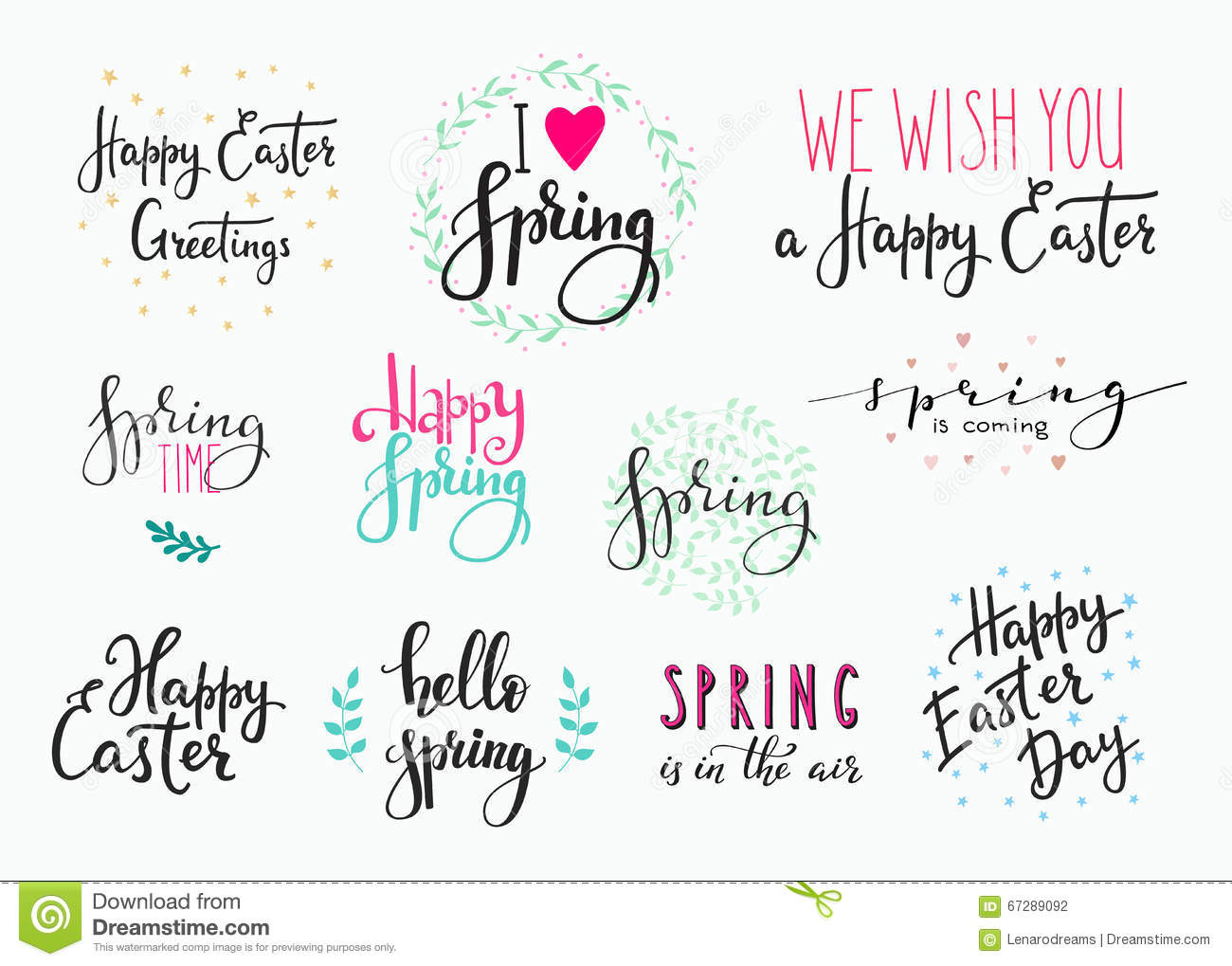 Hello spring happy easter lettering typography set stock