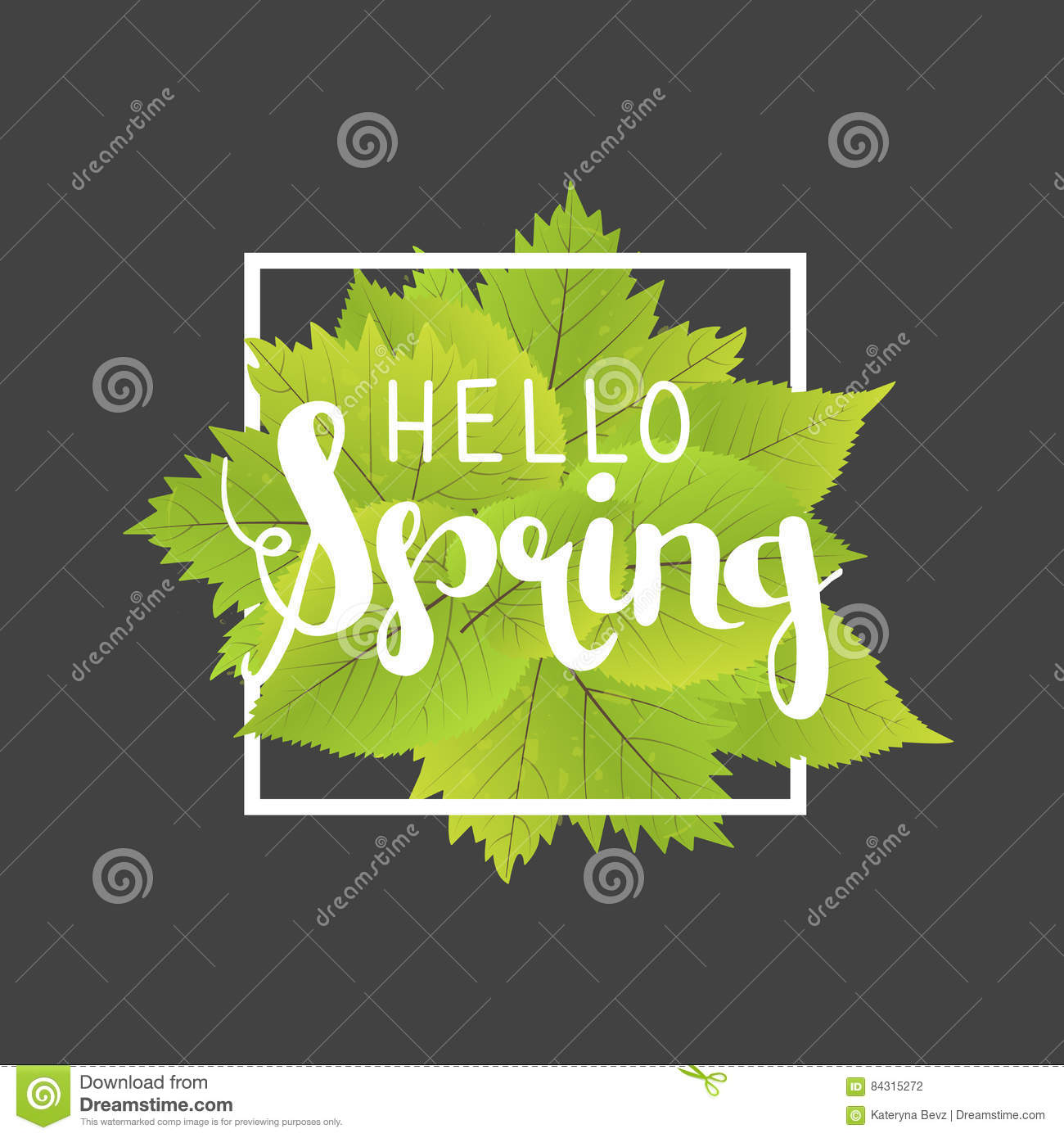 hello spring lettering with hand drawn letters label and banner