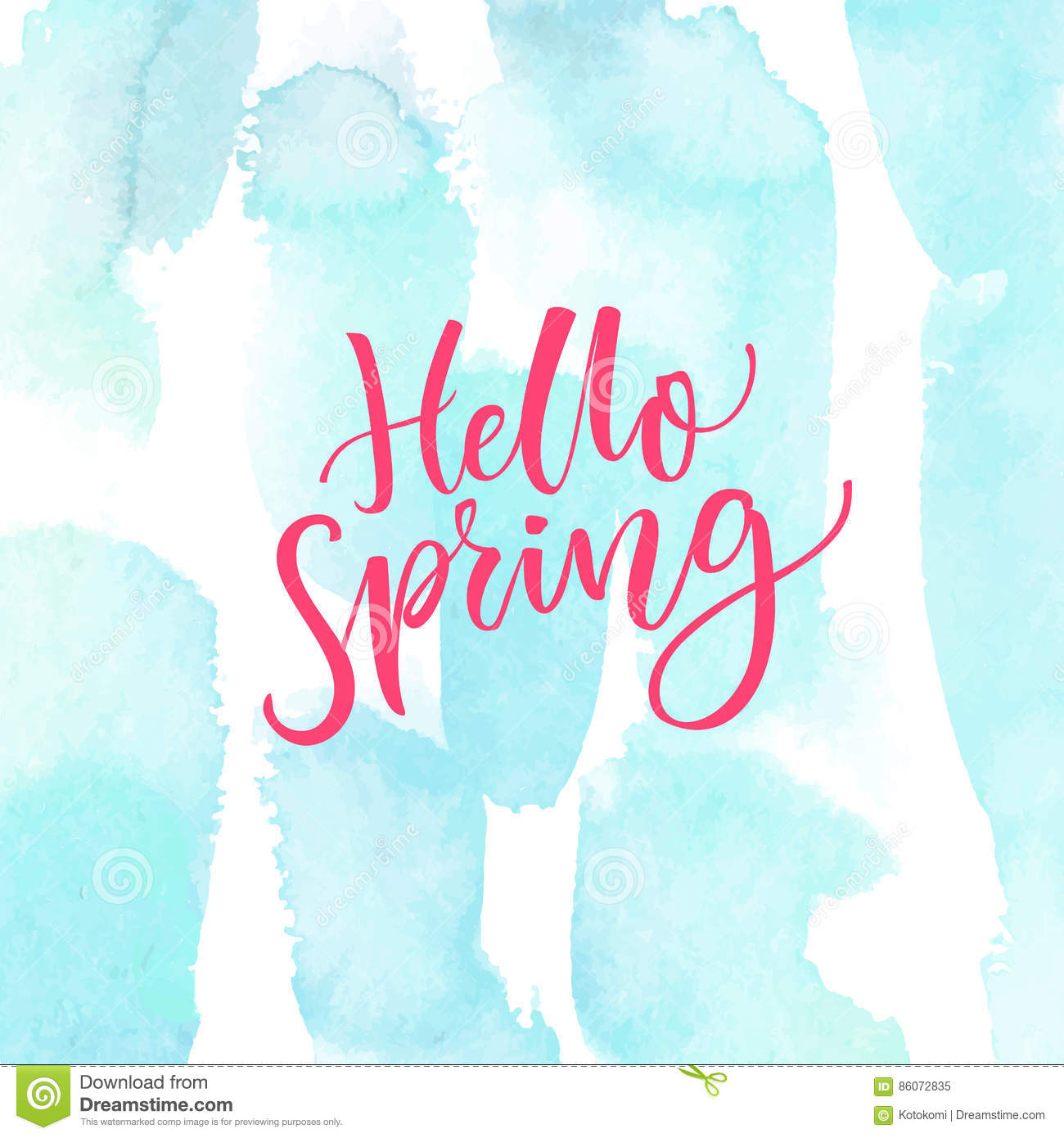 Hello Spring Modern Calligraphy Text At Blue Watercolor Texture