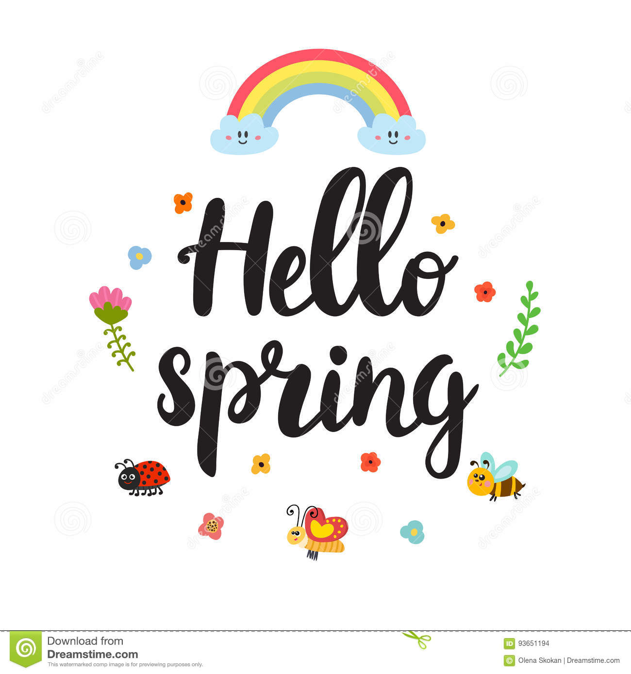 Hello Spring Quote With Decorative Floral Elements Beautiful Poster