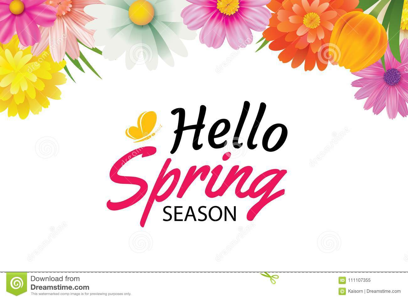 Hello Spring Season Greeting Card With Colorful Flower Frame Bac