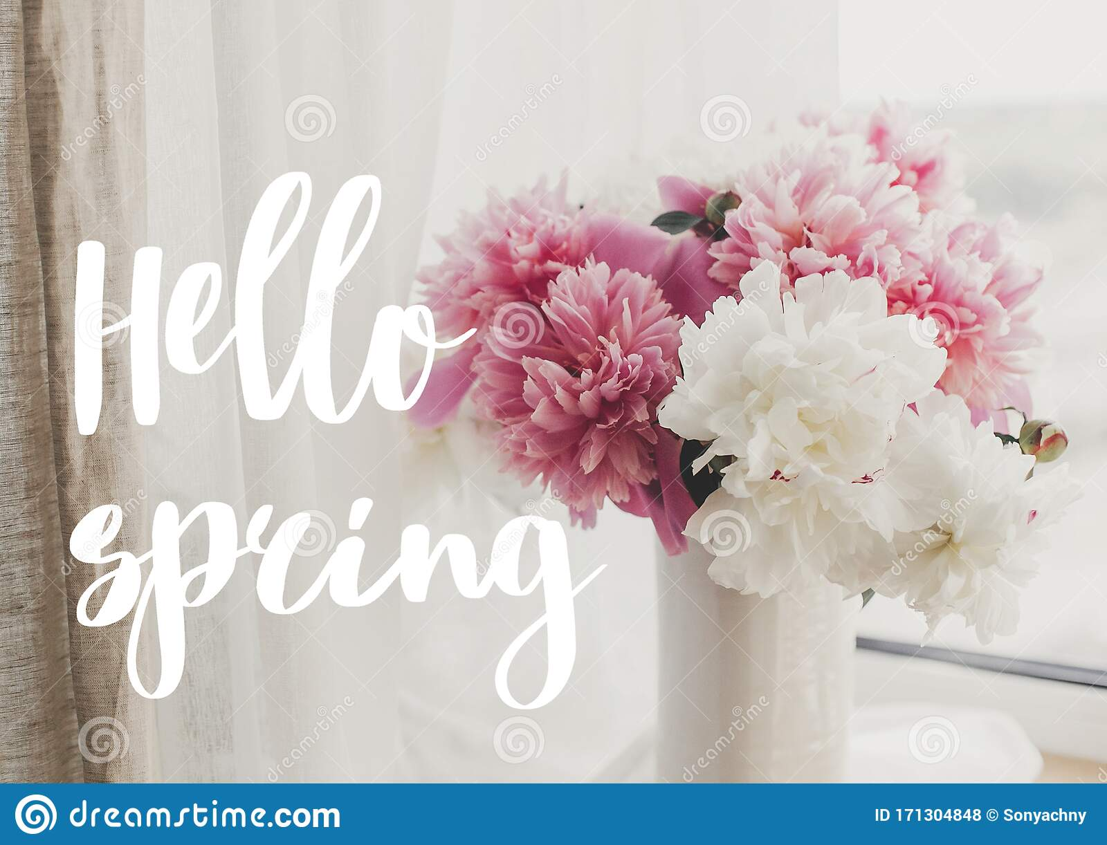 Hello Spring Text Handwritten On Lovely Peony Bouquet In Sunny Light On Rustic Window Stylish Pink And White Peonies In Vase On Stock Photo Image Of Postcard Greeting 171304848