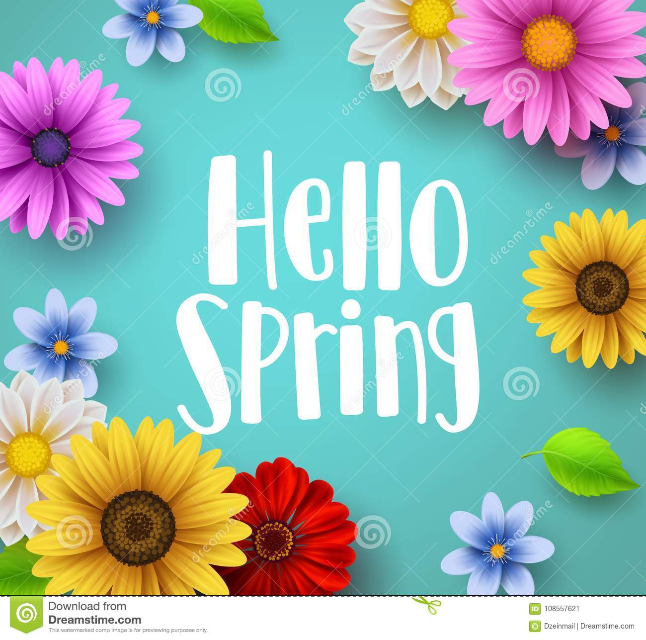 Hello Spring Text Vector Banner Greetings Design With Colorful