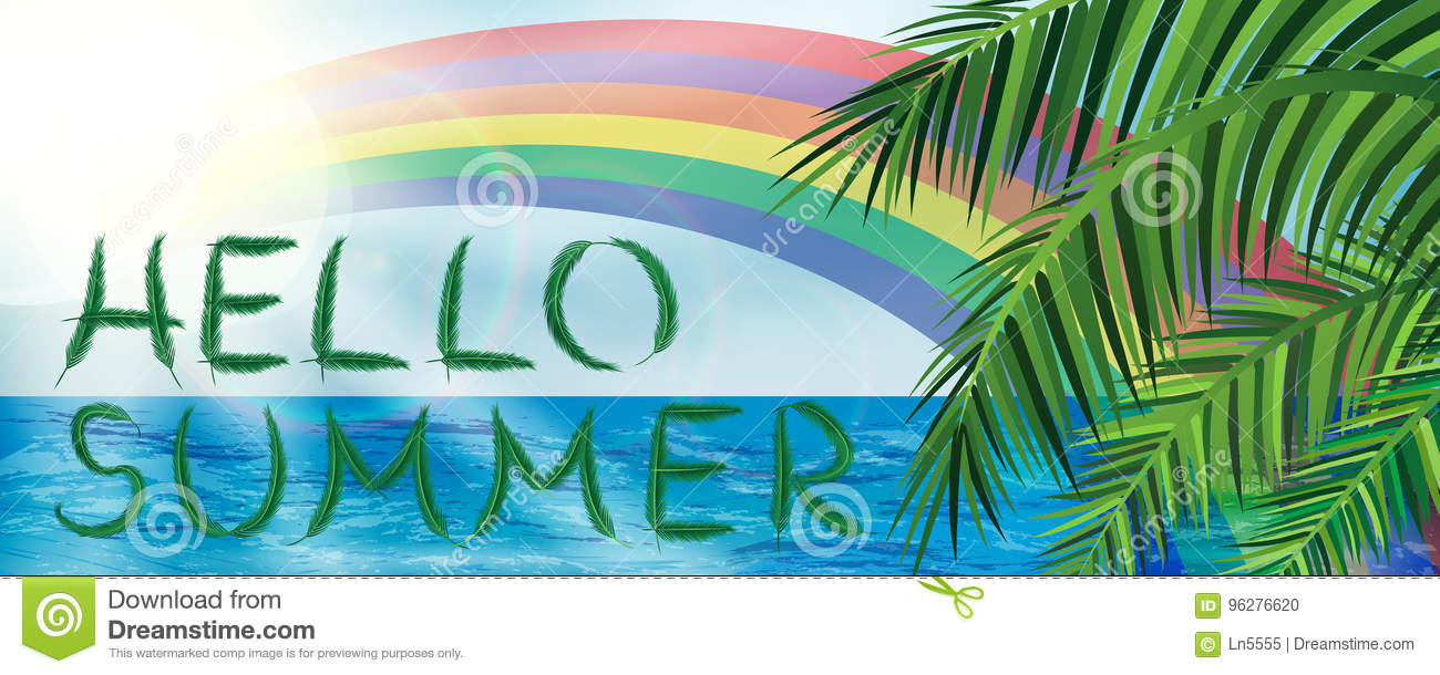 Hello Summer Banner With Palm Leaves And Rainbow On Sky And Ocean Background