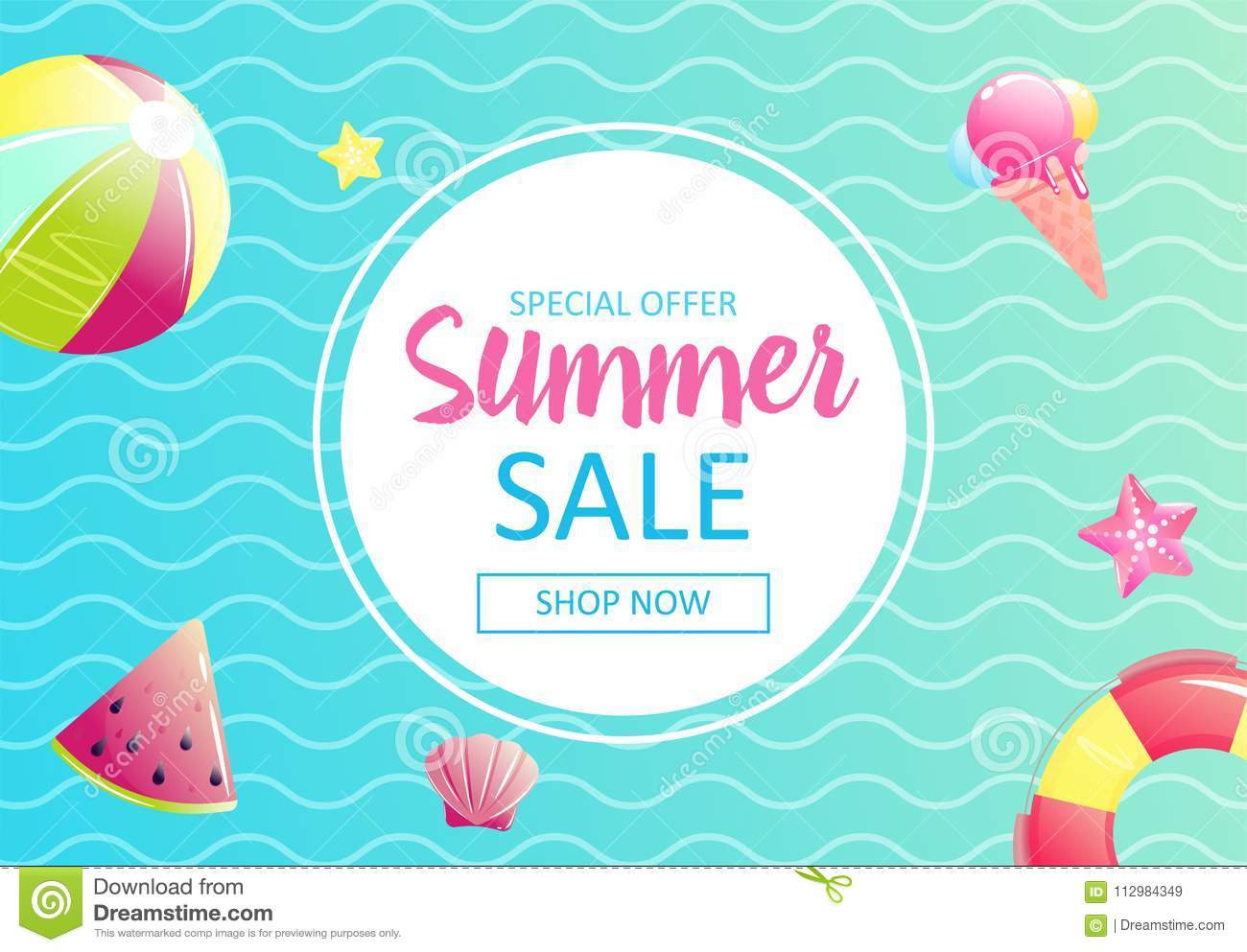 Hello summer. Banner of sale in online store. Special offer, shop now