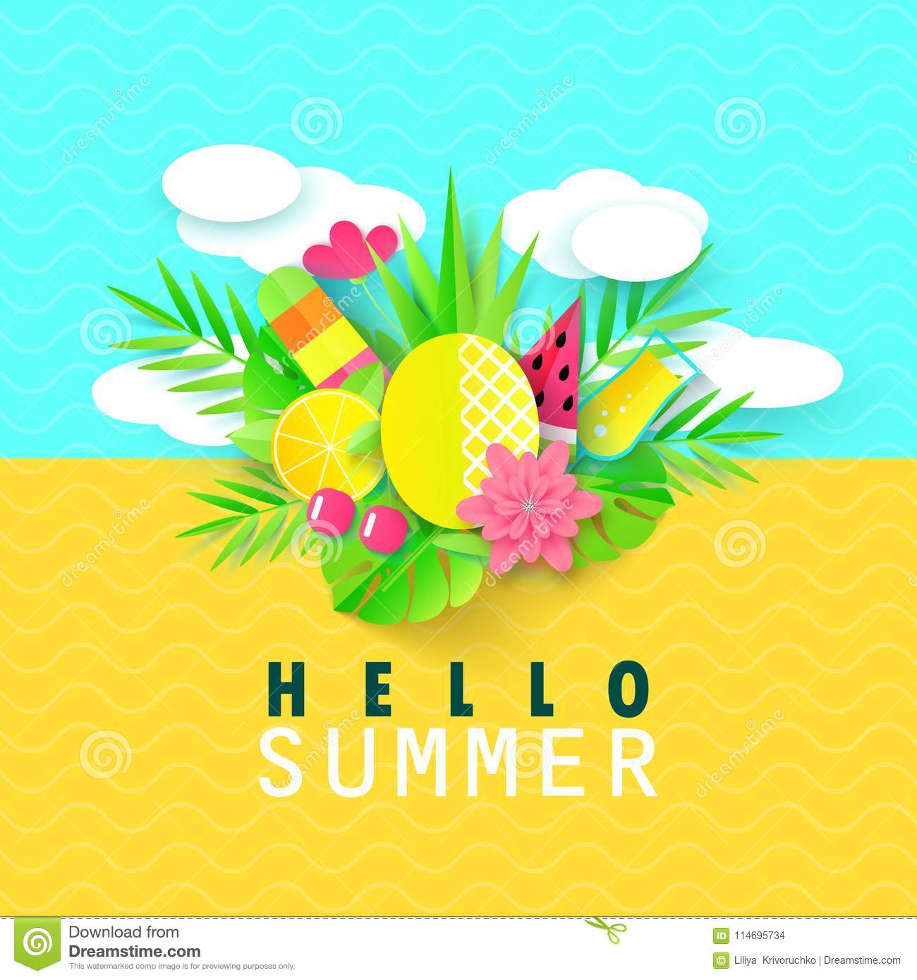 Hello Summer Banner With Sweet Travel Vacation Elements