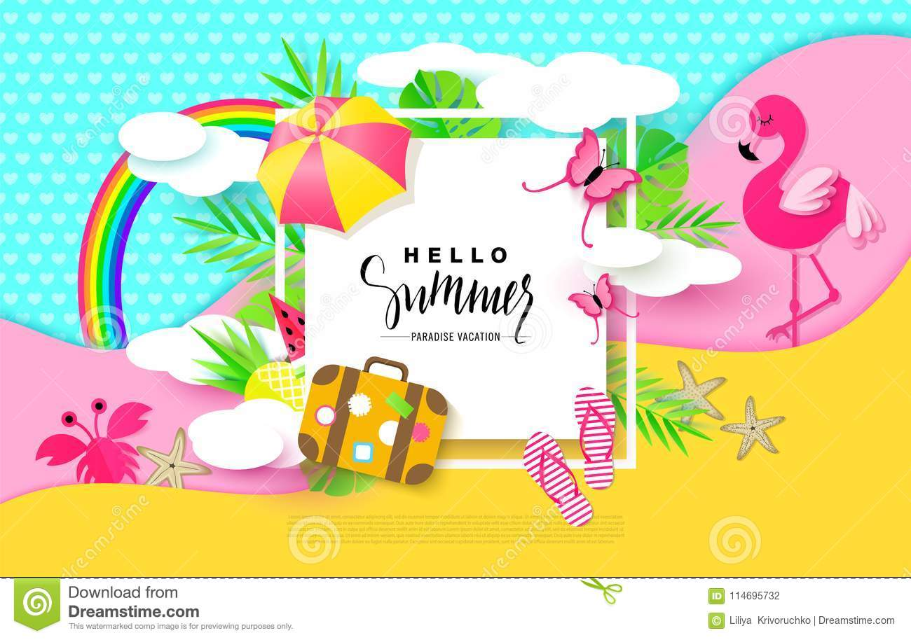 Hello Summer banner with Sweet Vacation Elements. Paper Art. Tropical plants, butterflies,pink flamingo, pineapple, crab
