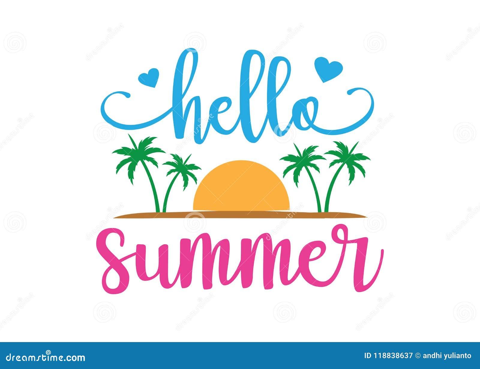 Hello Summer With Beach Theme Typography Vector Design ...