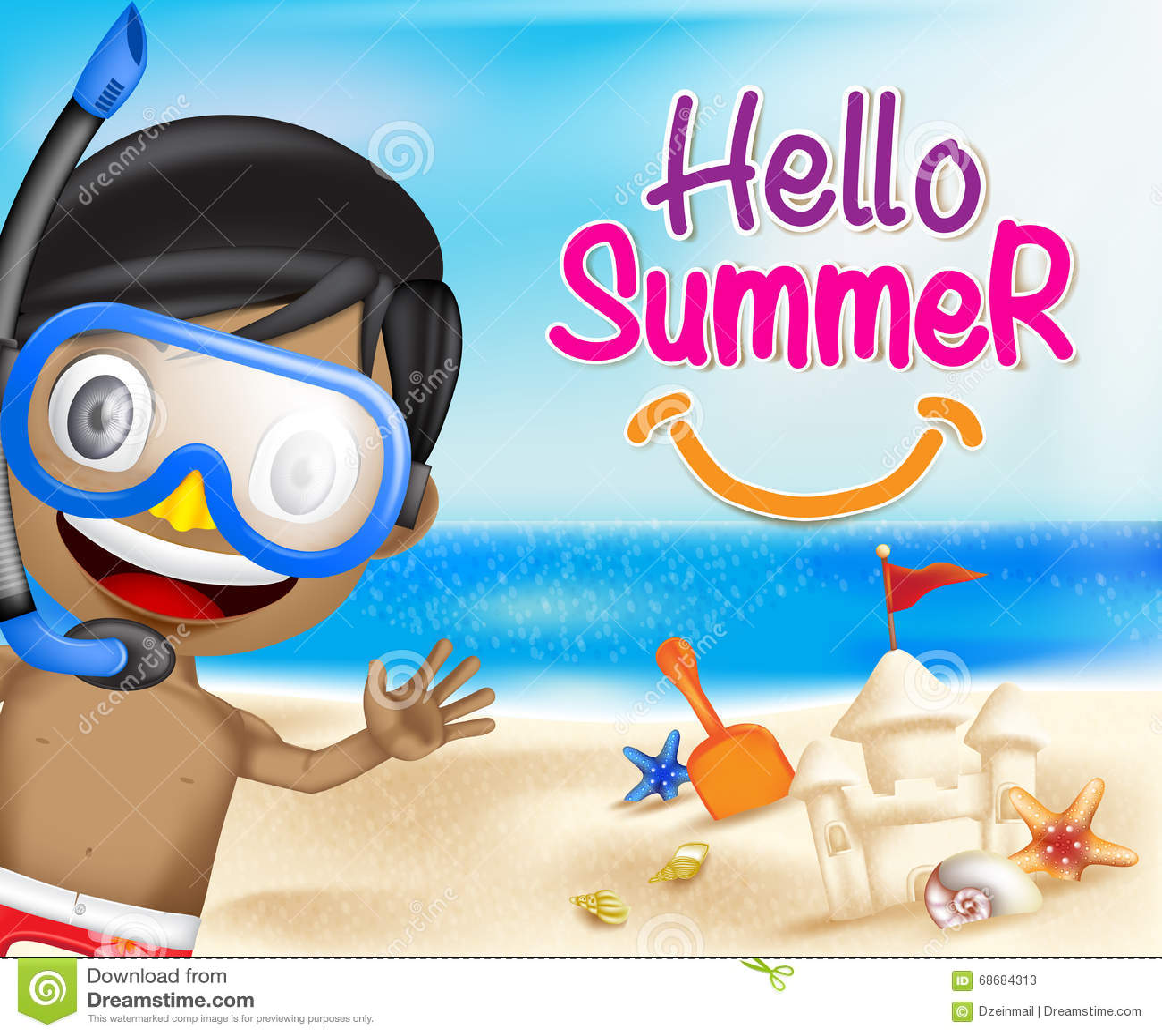 Hello Summer Of A Boy Waving Happy In The Seashore Stock Vector   Image:  6868