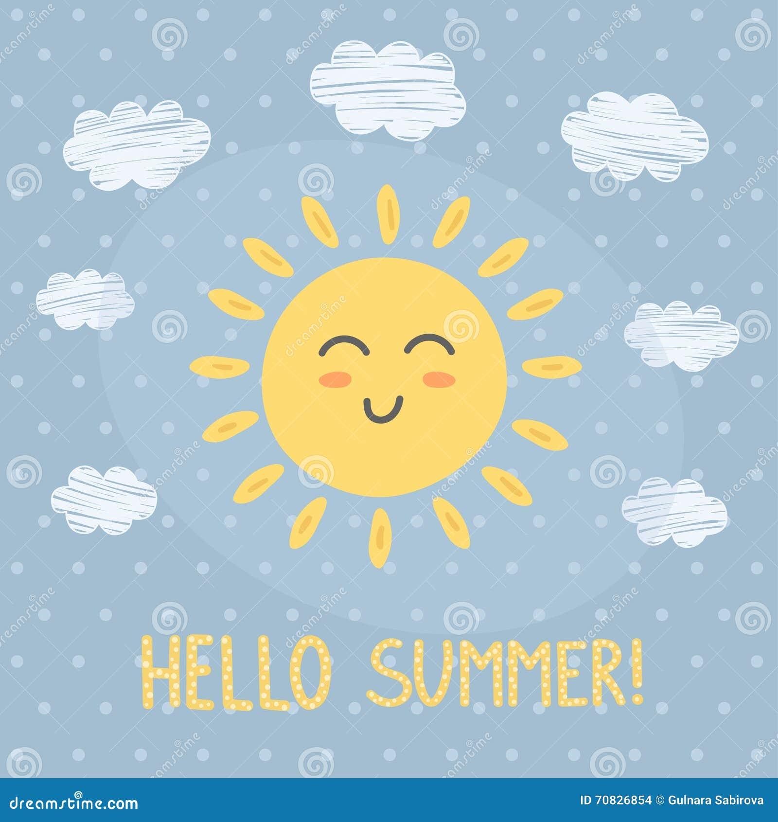 Hello Summer Card With A Cute Sun Stock Vector - Image: 70826854