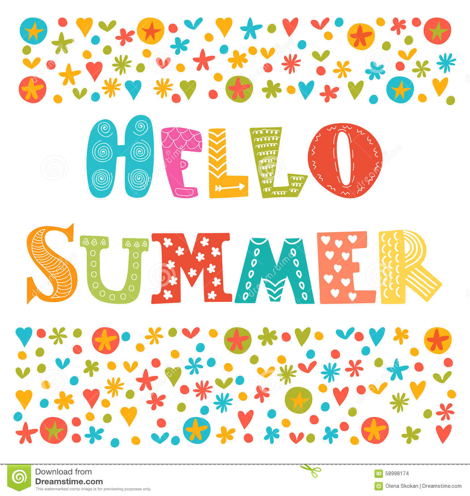 Hello Summer Card Vector Illustration  CartoonDealer.com #73914218