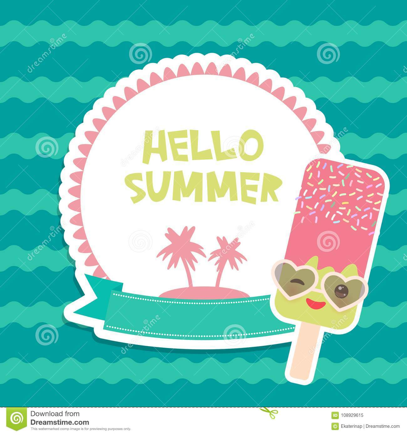 Hello Summer Chocolate Ice Cream, Ice Lolly, Kawaii With