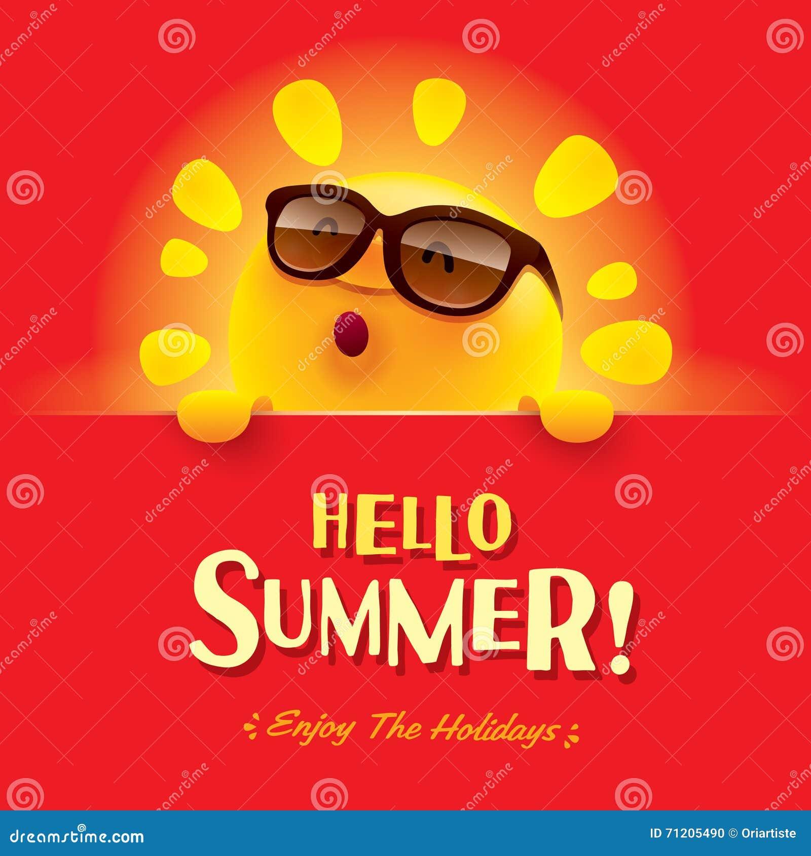 Couple Enjoying Their Summer Holidays Stock Photo: Hello Summer! Enjoy The Holidays. Stock Vector