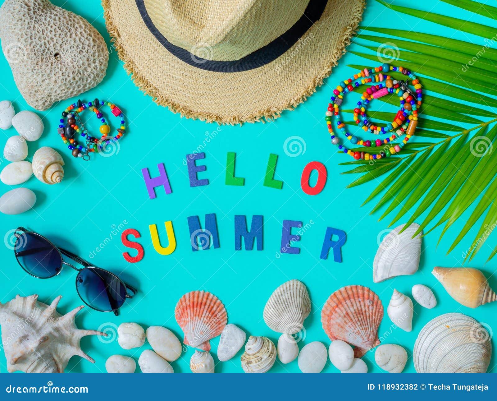 717213f9466 Hello Summer stock photo. Image of palm