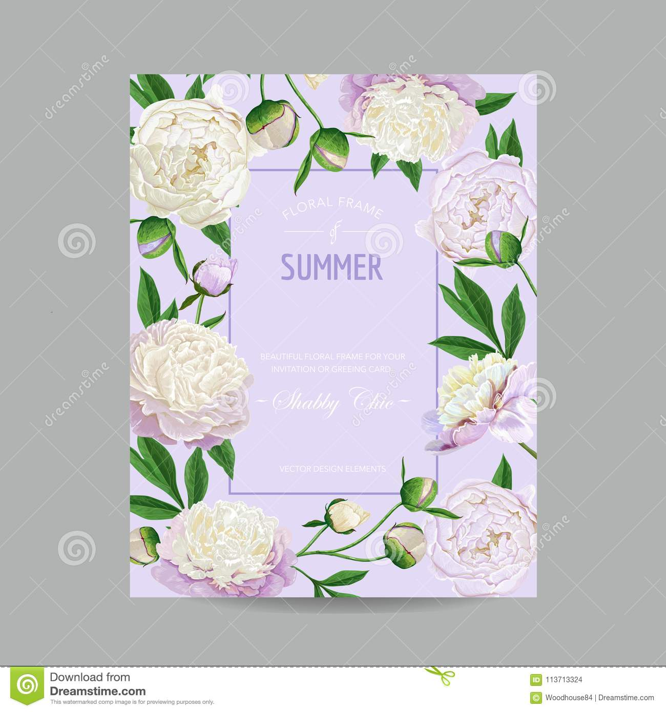 Hello Summer Floral Design With Blooming White Peonies Flowers