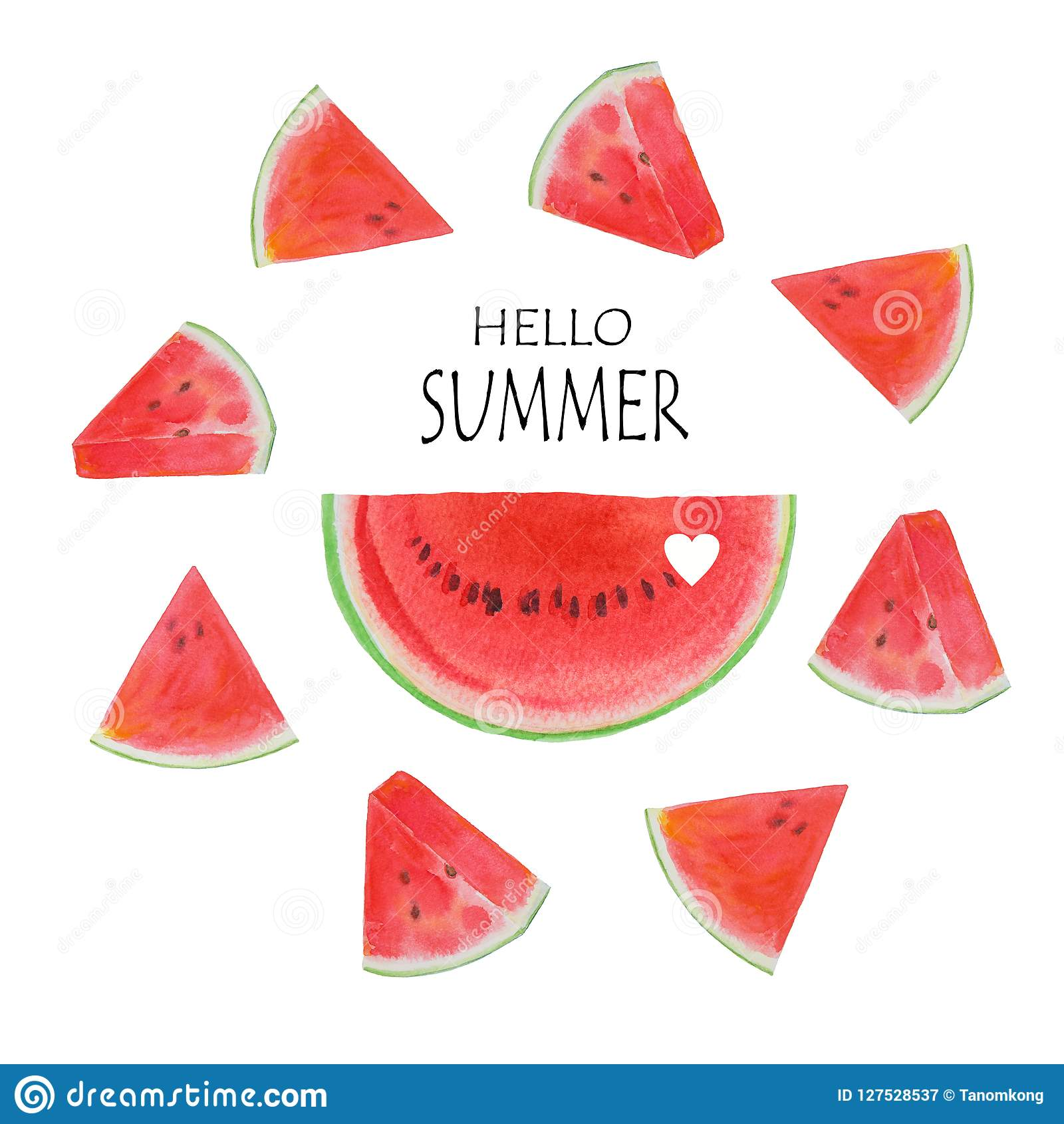 hello summer fruit with watermelon slices stock illustration