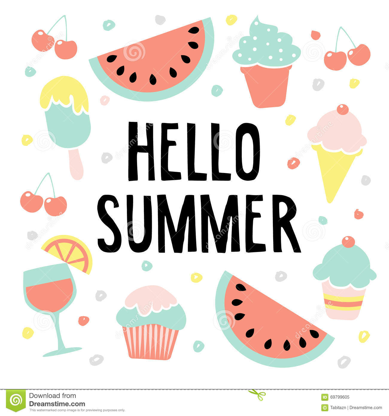 Hello Summer Greeting Card With Watermelon, Ice Cream, Cherries And Drink,  Il.