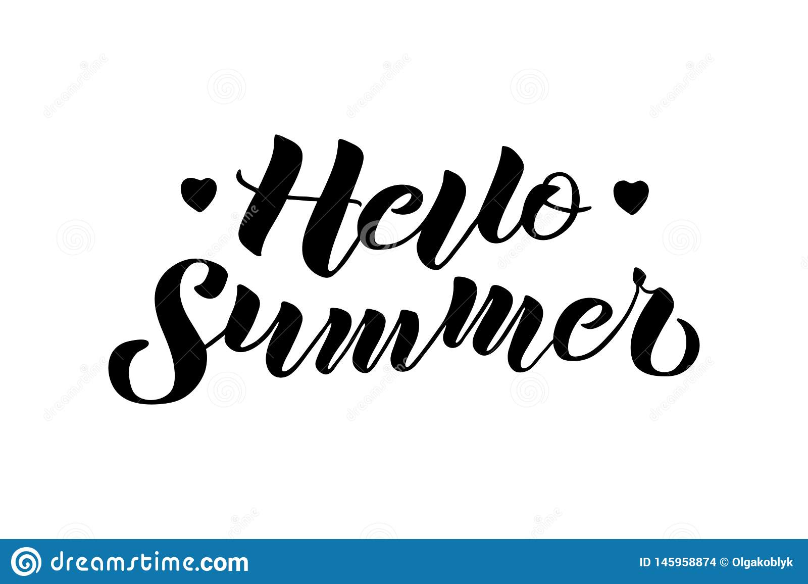 Hello Summer hand drawn lettering composition