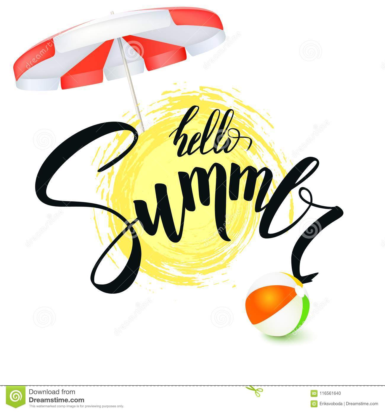 Hello Summer Handwritten Text Brush Pen Lettering With Symbol Of