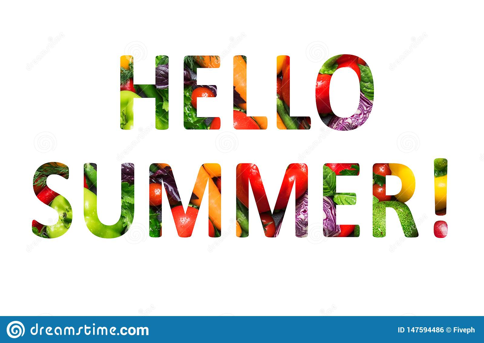 Hello summer, multi-colored text cut out of vegetables photo, the inscription on white background