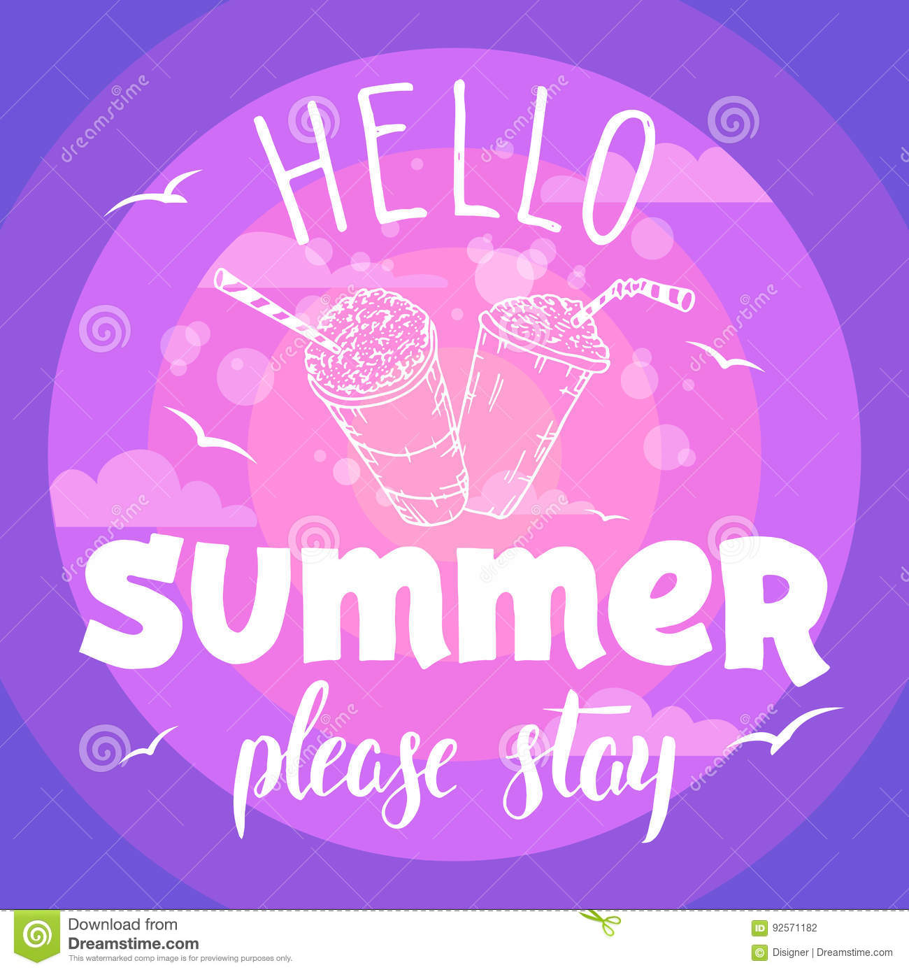Hello Summer Please Stay Party Flyer Stock Vector Illustration Of