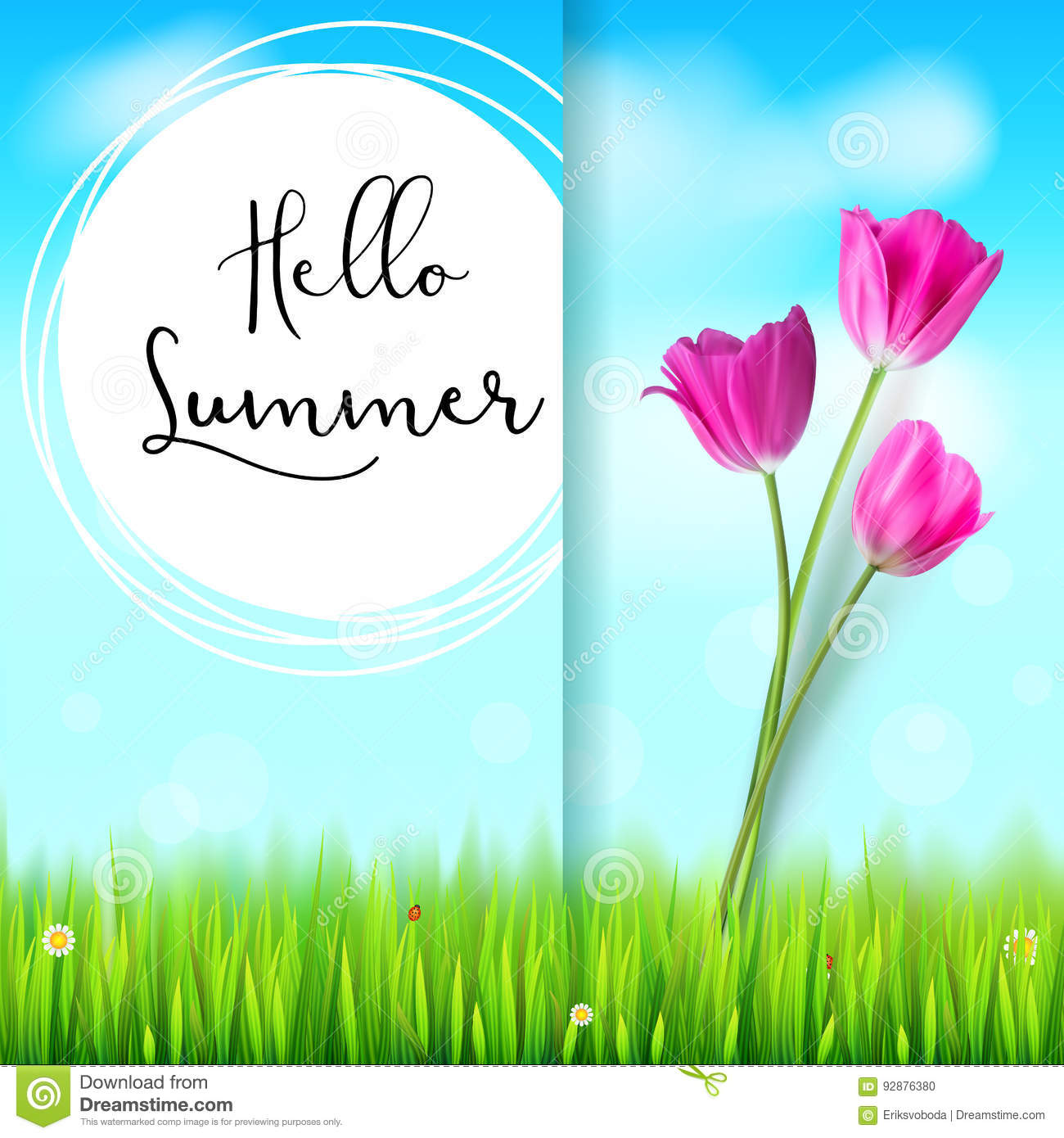 Delightful Hello Summer, Post Card. Pink Tulips On The Blue Summer Sky Backdrop. Green  Grass And White Clouds. Hand Drawn Design