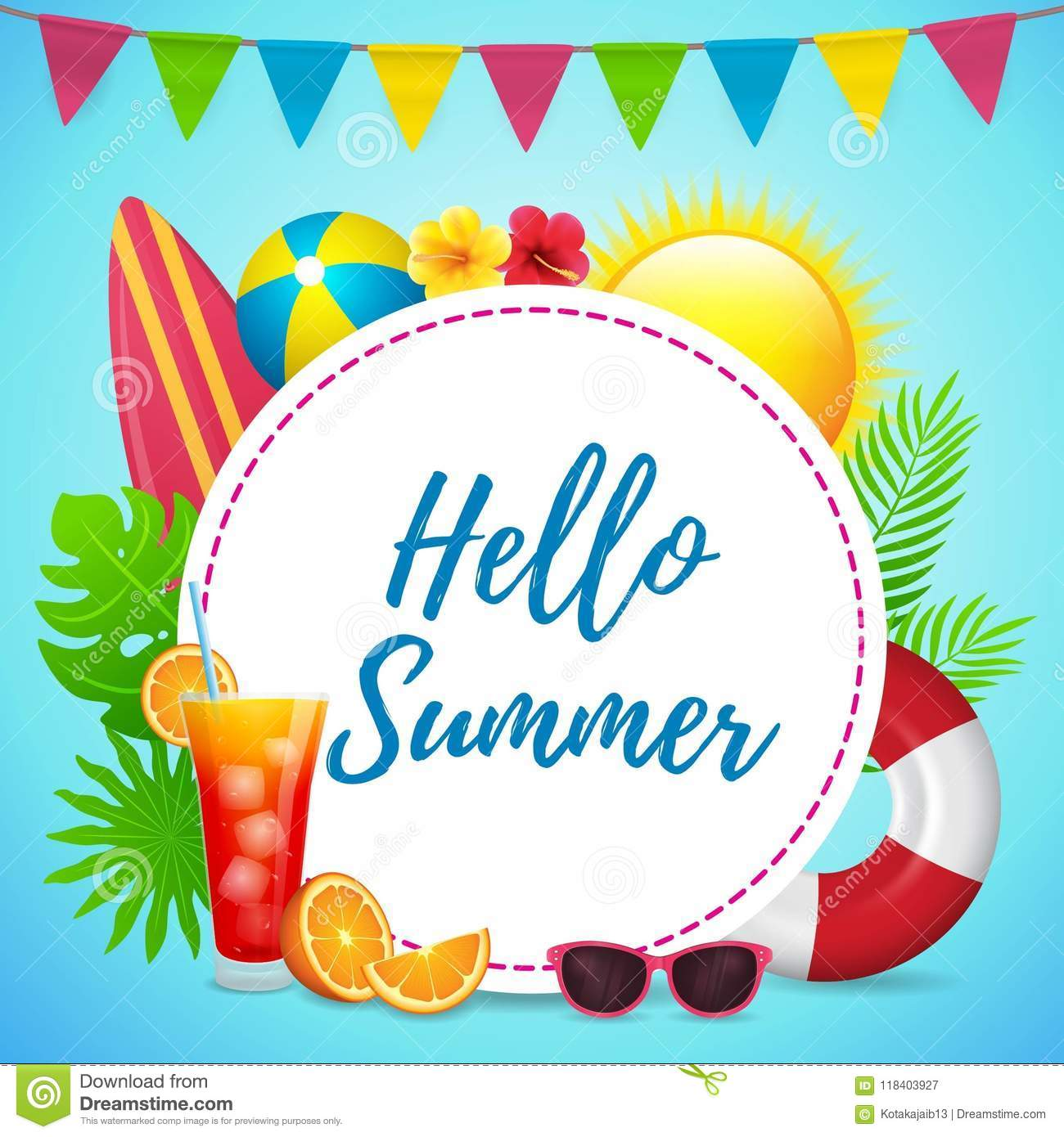 hello summer poster design with circle text space stock illustration
