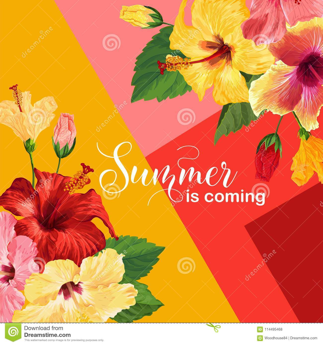 Hello Summer Poster Floral Design With Red And Yellow Hibiscus