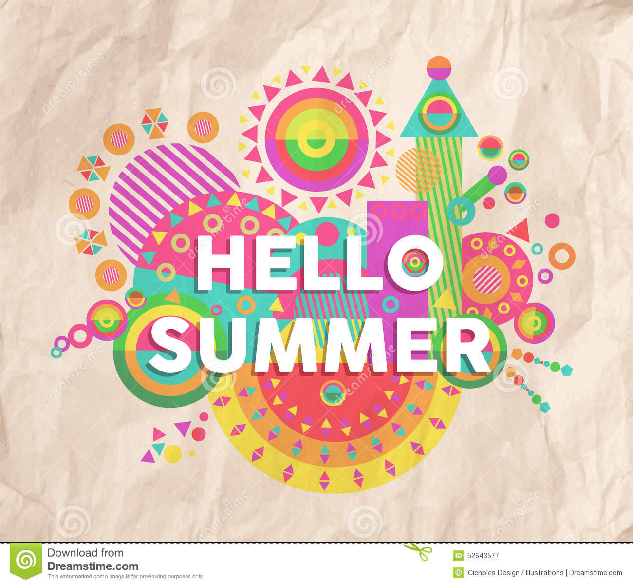 Hello Summer Quote Poster Design Stock Vector - Image: 52643577
