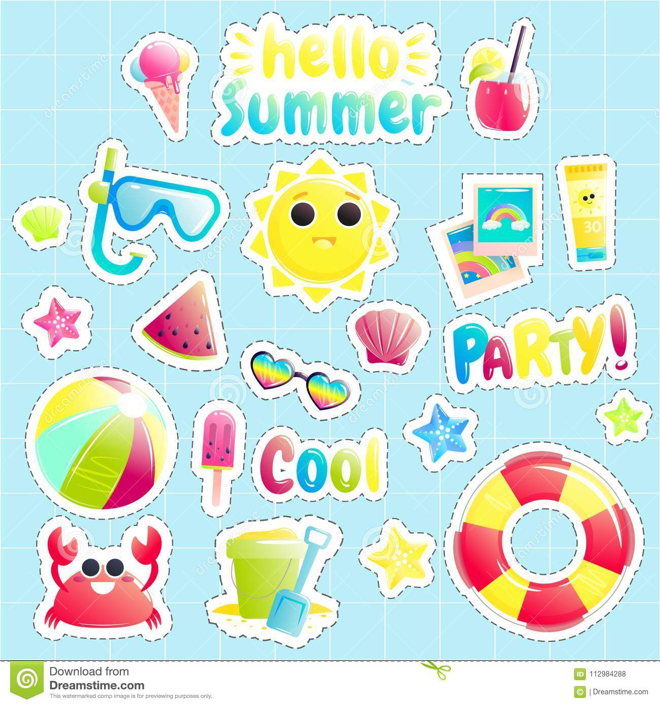 Hello summer. Set of cute offshore objects. Pretty sun and crab and watermelon and beach ball and bucket