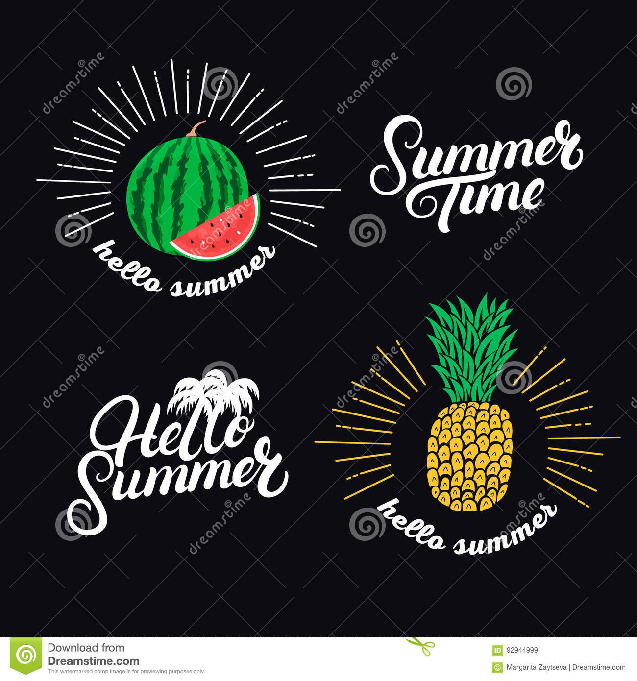 Hello Summer Set Hand Written Lettering Quotes And Hand Drawn