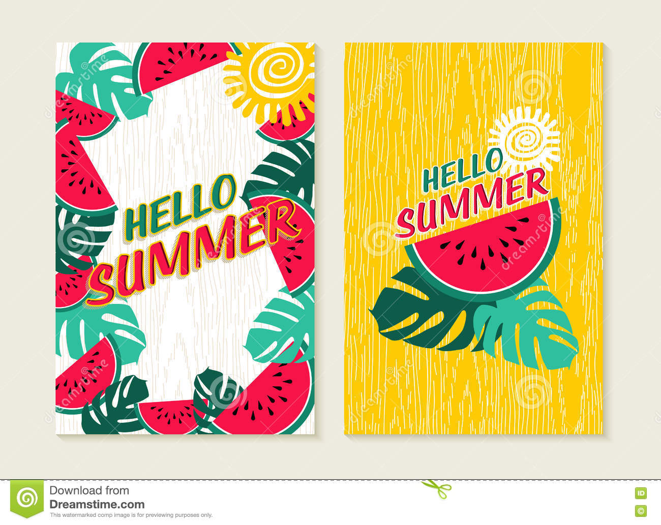 Hello Summer Set Of Watermelon Tropical Nature Art Stock Photography
