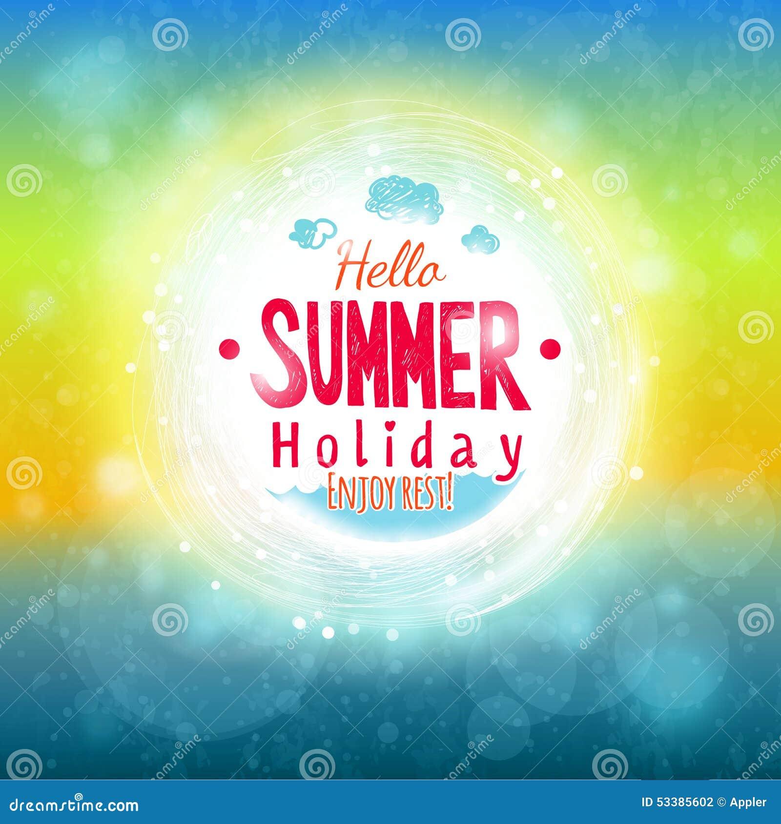 Hello Summer Sky And Sea Drawing Card Nice Look