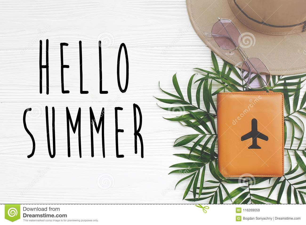 ce0cafeaab9 Hello Summer Text On Passport With Plane And Retro Black Sunglasses ...