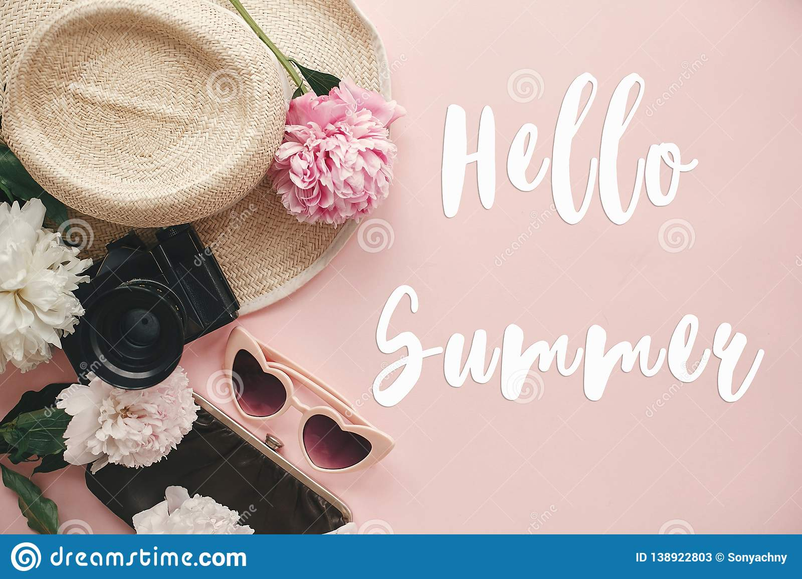 bed5265f0a2 Hello Summer Text Sign On Stylish Photo Camera