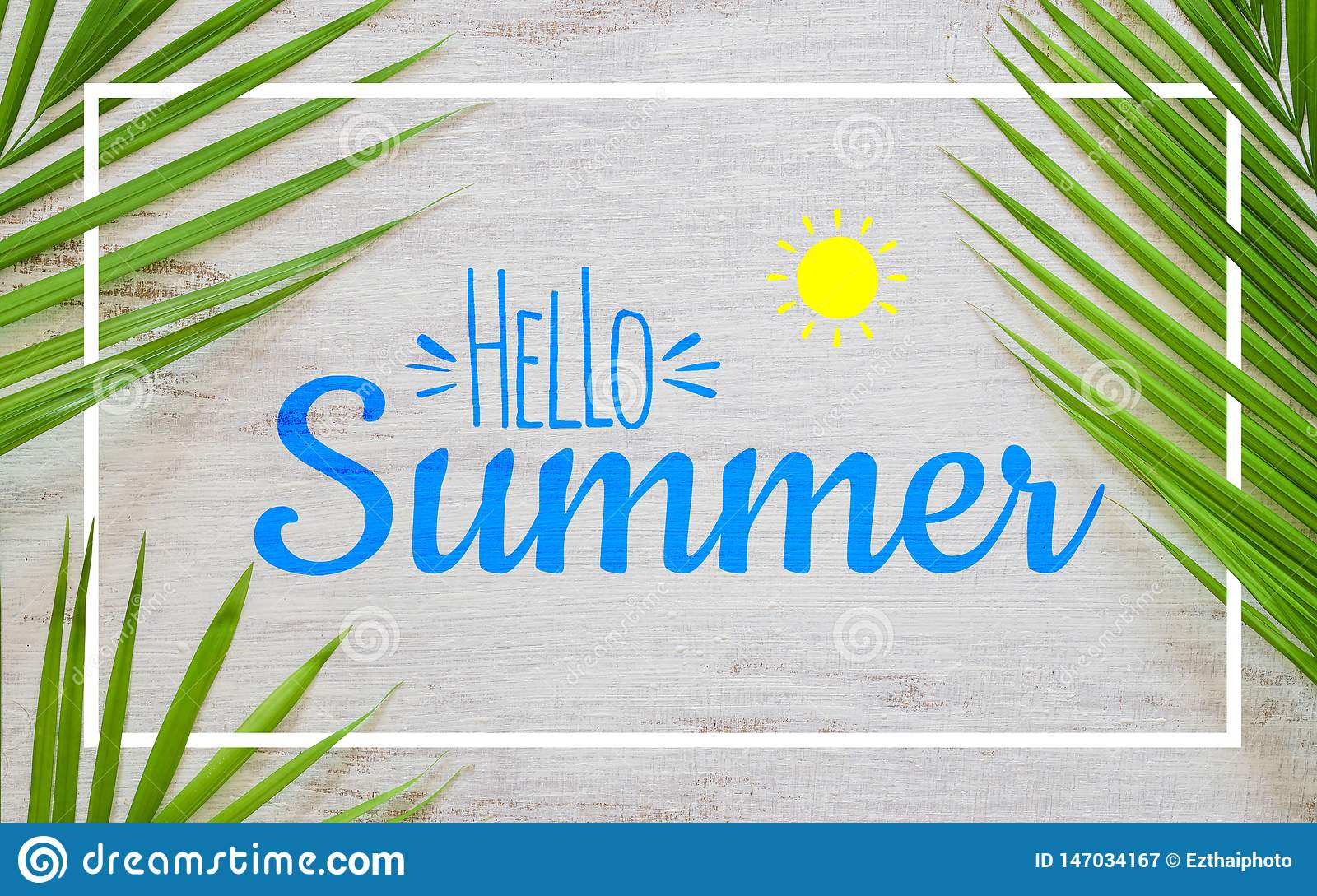 Hello summer travel vacation concept flat lay poster background concept. Hello Summer text on white wood background with green