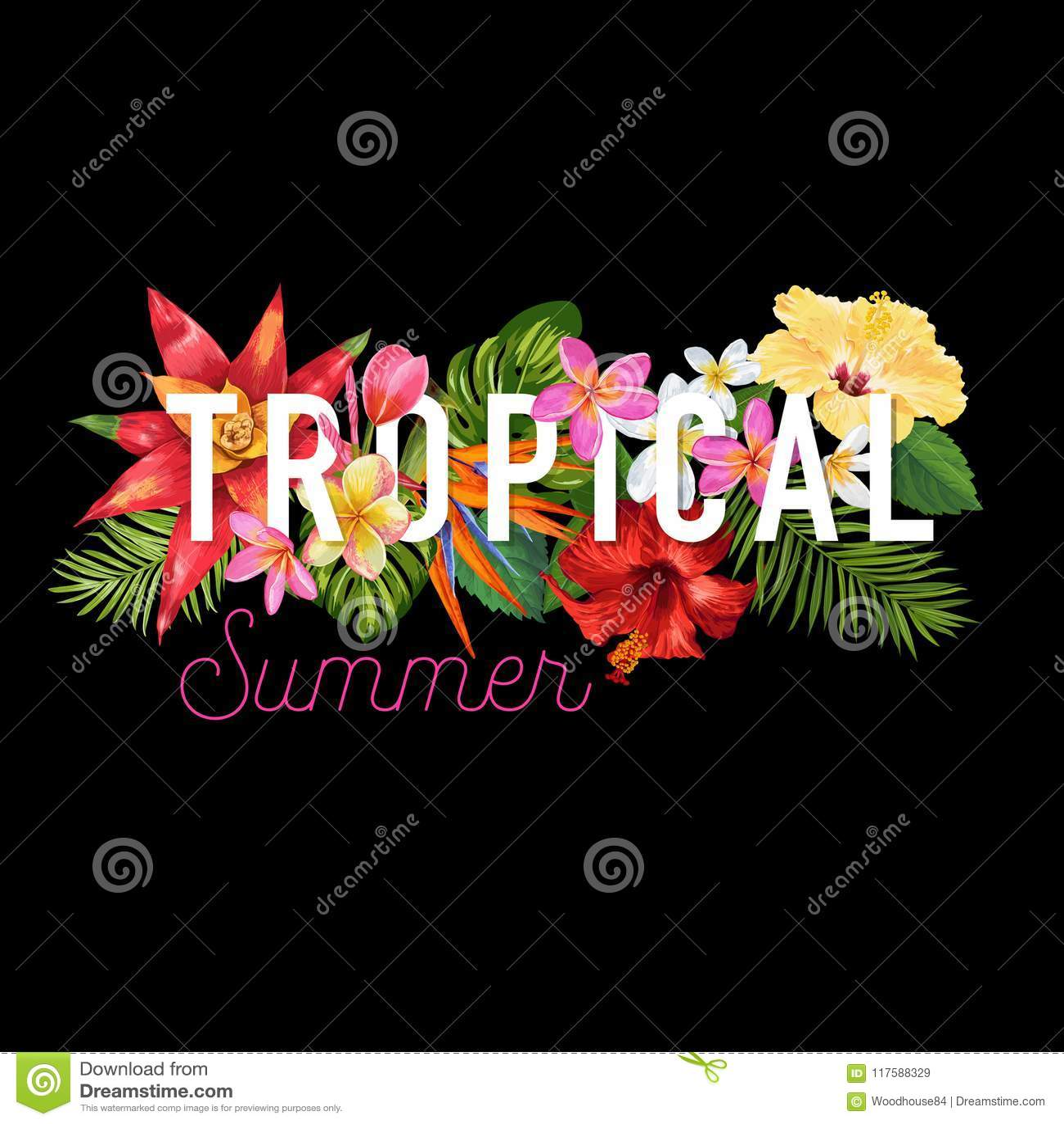 Hello Summer Tropic Design. Tropical Hibisсus Flowers