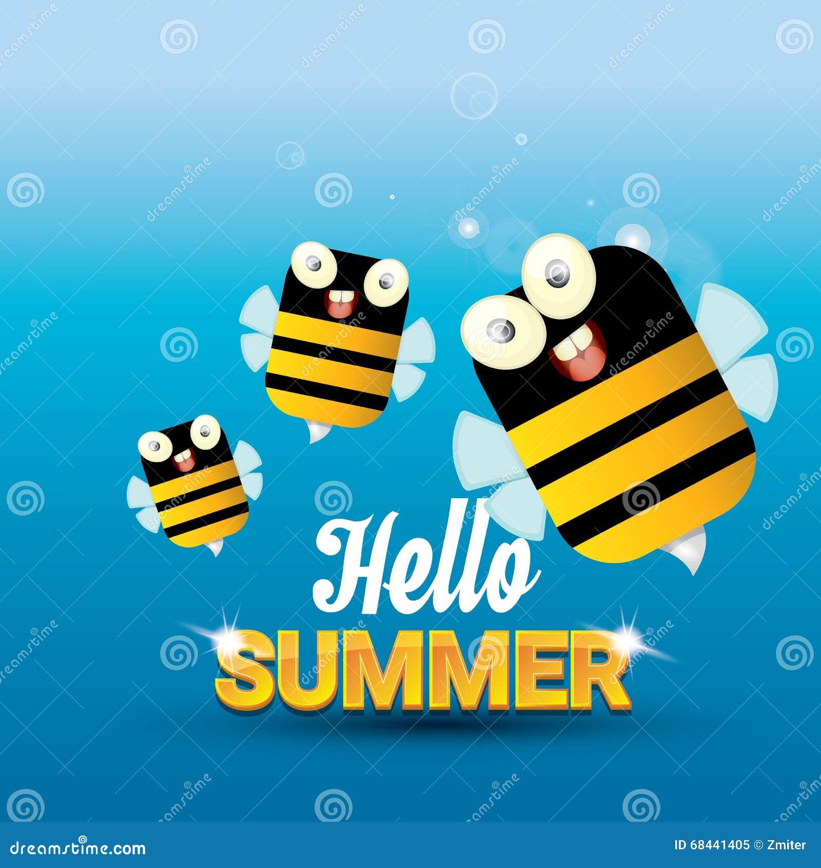 Hello Summer Vector Background. Funny Cartoons Bee Stock Illustration - Image...