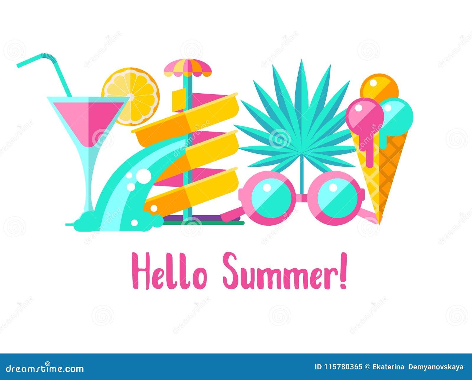 Hello Summer. Vector Clipart. Stock Vector - Illustration ...