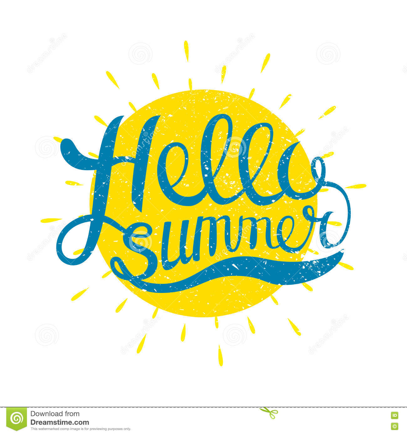 Ordinaire Hello Summer Vector Illustration Isolated On White Background. Fun Quote.  Han.
