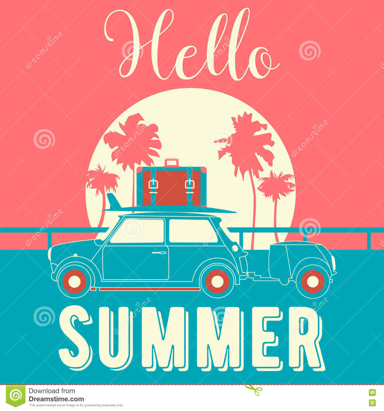Hello Summer Vintage Style Banner. Tropical Vacation