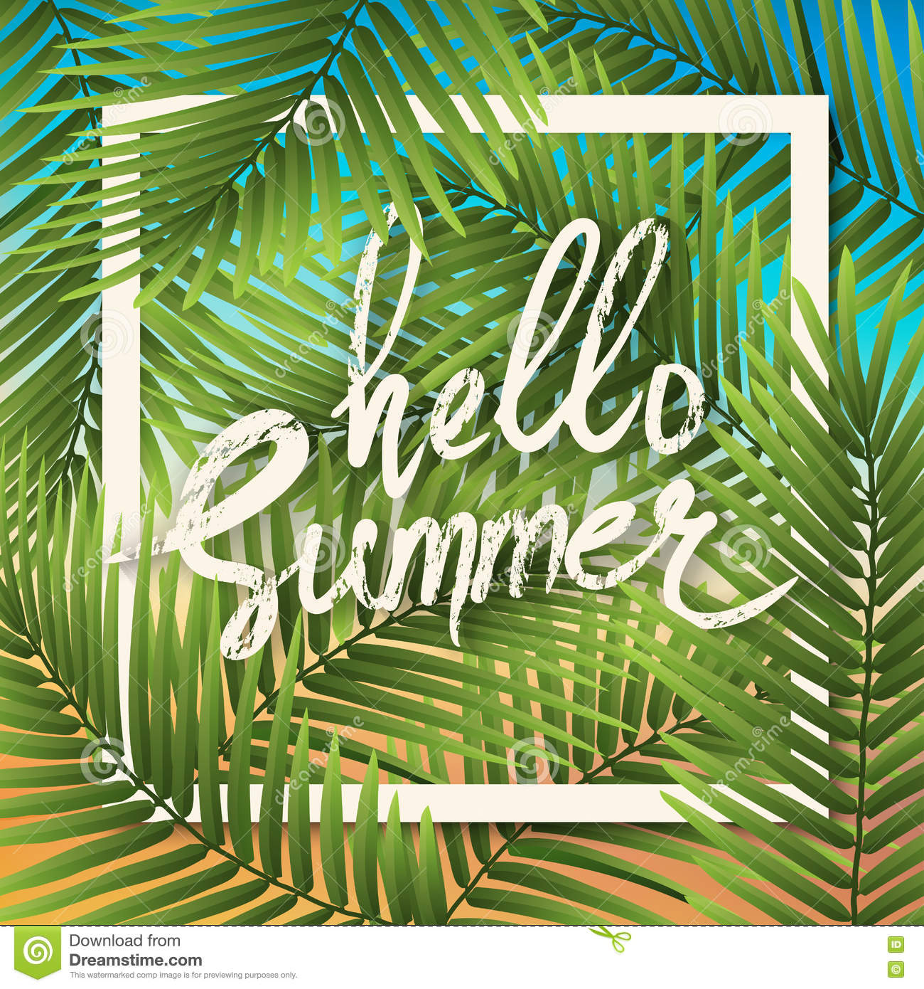 Hello Summer Wallpaper Typographical Background With Tropical Pl