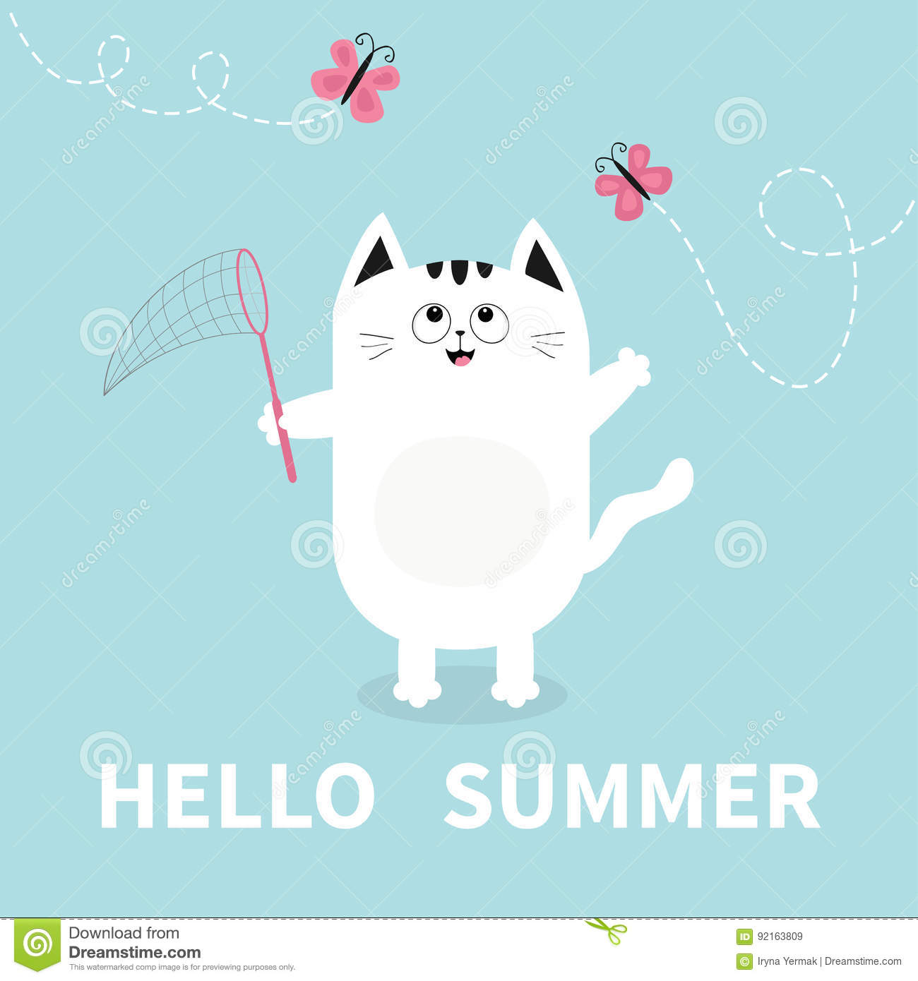 Hello Summer White Cat Pink Butterfly Insect Net Dash Line Track