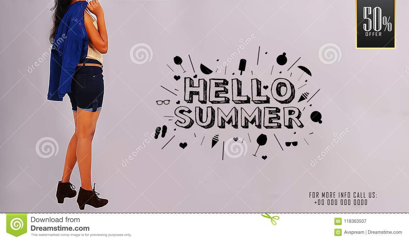 `Hello Summer` Young girl posing on summer sale promotional banner templates.